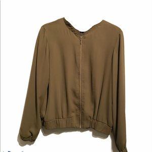 Dalia Zipper olive blazer Dressy Jacket Classy M